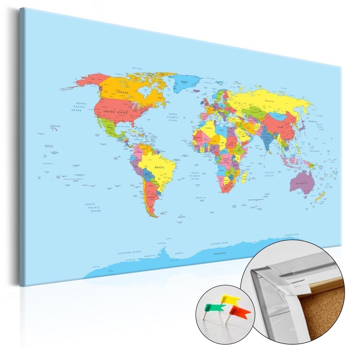 obraz na korku mapa świata